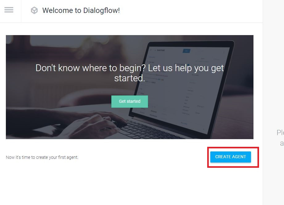 Dialogflowコンソール エージェント