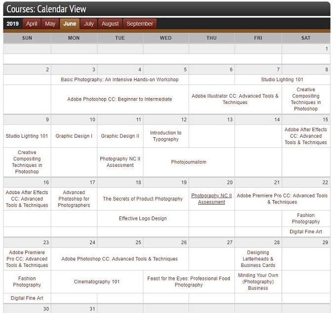 PCCIマニラのスクール講座カレンダー