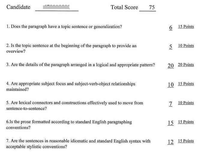 TEP TEST1級 ミシガン大学採点結果 Editing