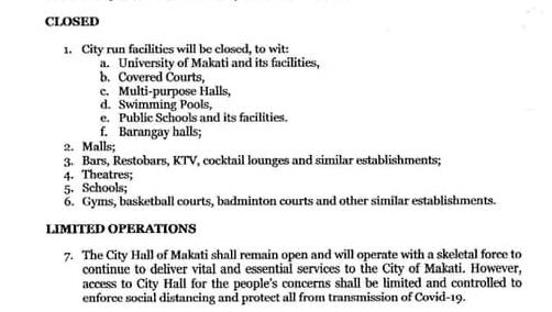 新型コロナ海外での反応 フィリピンのマニラ マカティ市